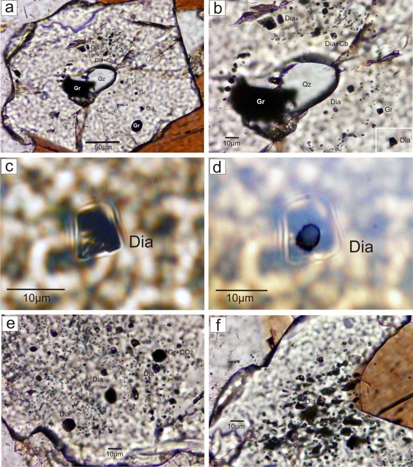 Mikrofotografie diamantov uzatváraných v granátoch
