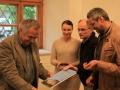Krst knihy o geológii vrchu Butkov. Zľava: Jozef Michalík, Lenka Vargová, Viliam Schmidbauer, Ján Madarás