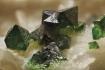 Tabula_16 Drúza rombických kryštálov libethenitu na kremeni, Ľubietová-Podlipa