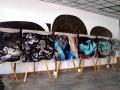 Časť expozicie veľkoplošných panelov výstavy vo vestibule jedálne v areáli SAV v Bratislave - Patrónke